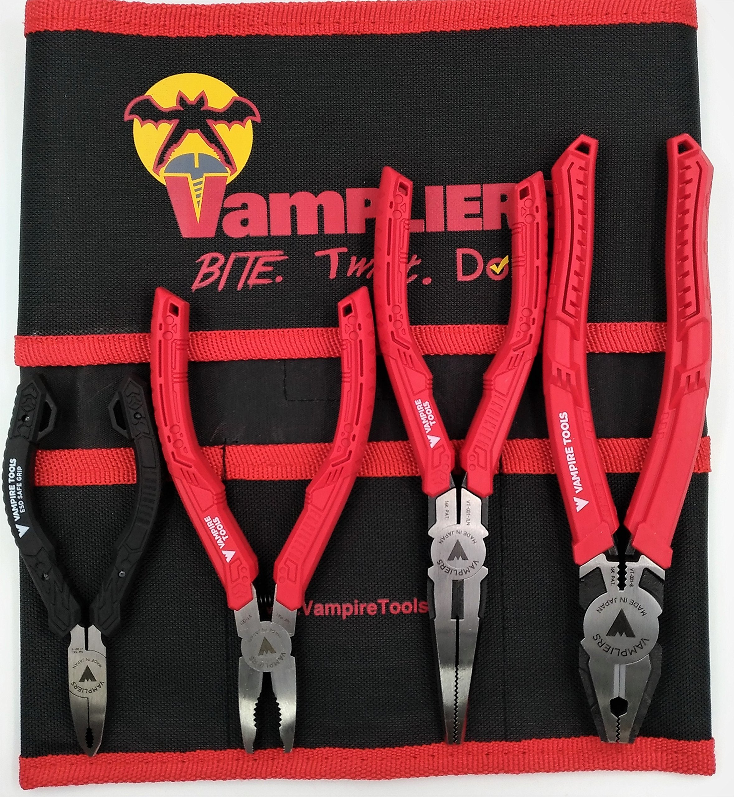 VamPLIERS 4-PC Set S4BP Specialty Screw Extraction Pliers. Extract Stripped Stuck Security, Corroded, or Rusted Screws + Tool Pouch