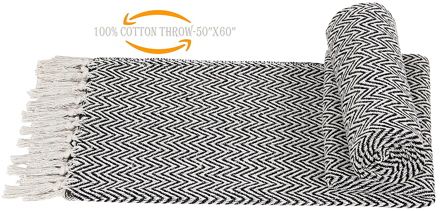 """100% Soft Cotton Throw Blanket ,Couch Sofa Throw Blanket, Sofa Quilt, Super Soft Cotton Throw Blanket, Indoor/Outdoor use, Everyday Use 50""""x60"""" Hand-Knotted Fringe Cotton Throws-Black White"""