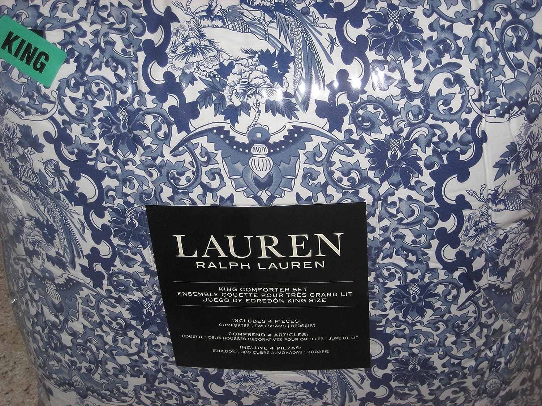 RALPH LAUREN PORCELAIN BLUE COMPLETE 4 PC. SET TAMARIND KING COMFORTER, SHAMS & BED-SKIRT