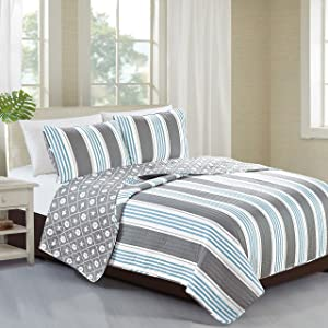 Home Fashion Designs 3-Piece Coastal Beach Theme Quilt Set with Shams. Soft All-Season Luxury Microfiber Reversible Bedspread and Coverlet. St. Croix Collection Brand. (King)