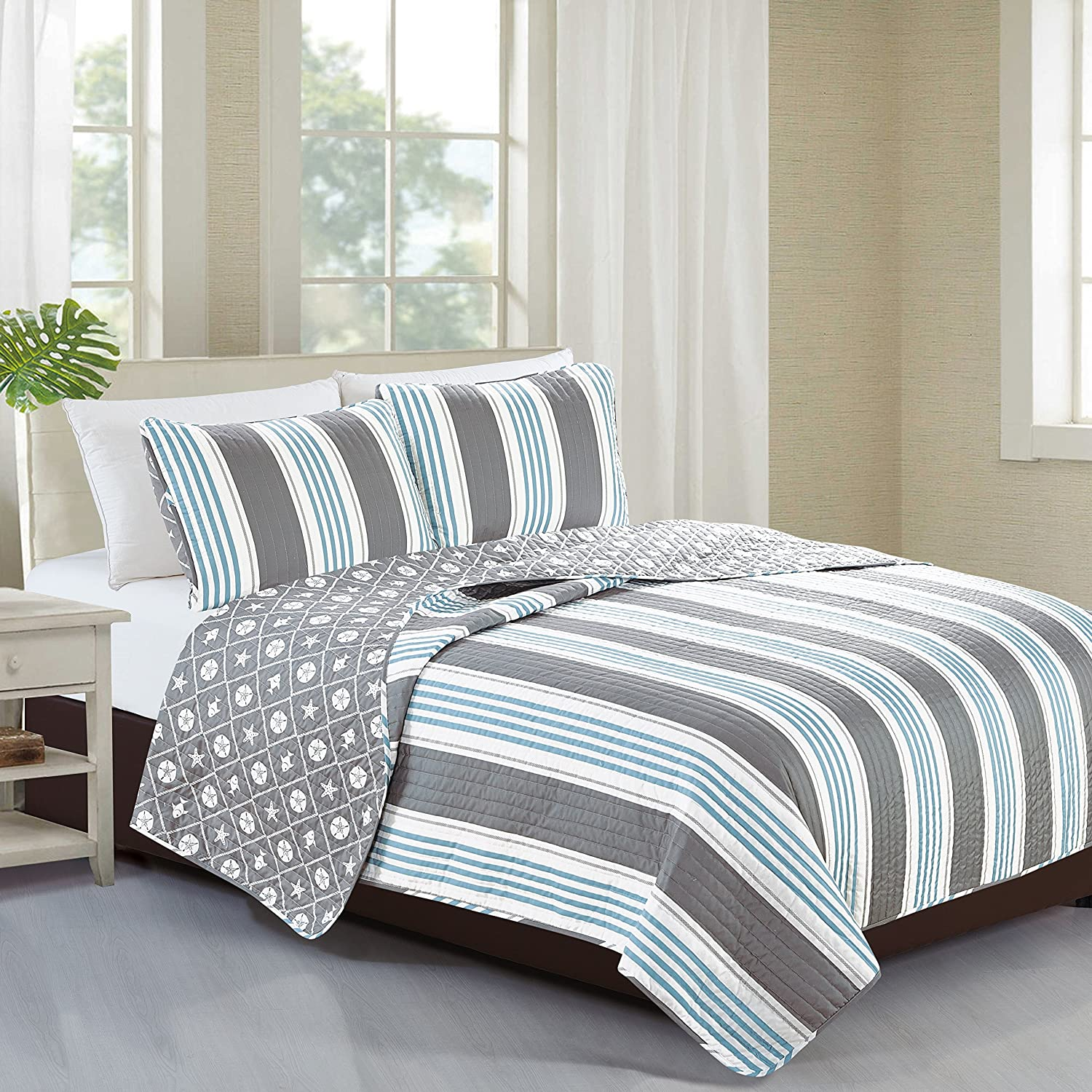 Home Fashion Designs 2-Piece Coastal Beach Theme Quilt Set with Shams. Soft All-Season Luxury Microfiber Reversible Bedspread and Coverlet. St. Croix Collection Brand. (Twin)