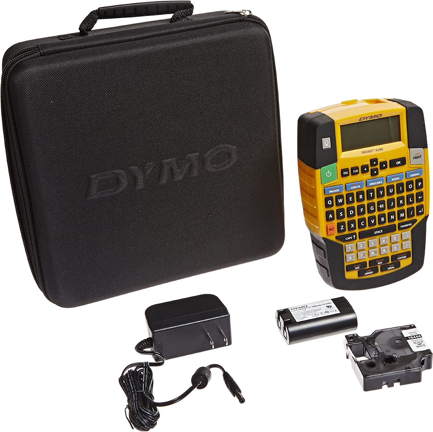 DYMO Rhino 4200 Industrial Label Maker Carry Case with Roll of 1/2 All-Purpose Vinyl Labels, Black on White (1835374)