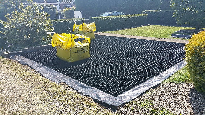 Garden Shed Base Grid 3m x 3m passt 10x 10Schuppen & 10x 10Füße Schuppen = Full Eco-Set + Hochbelastbar Membran–Kunststoff ECO Betonplatten Grundlagen & Auffahrt Raster