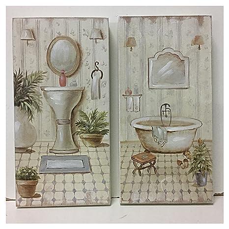 Set 2 quadri bagno stampa su legno vasca da bagno retrò lavandino cm ...