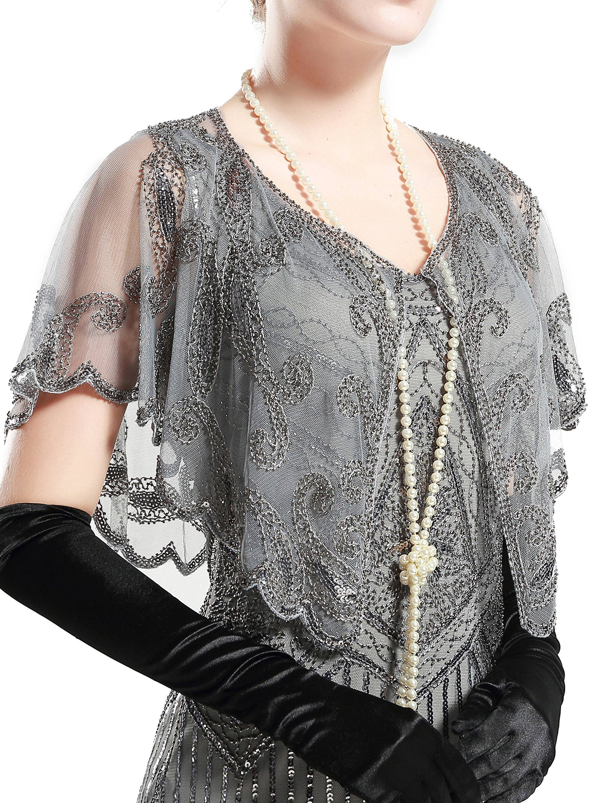 Babeyond 1920s Shawl Wraps Beaded Evening Cape Bridal Shawl For