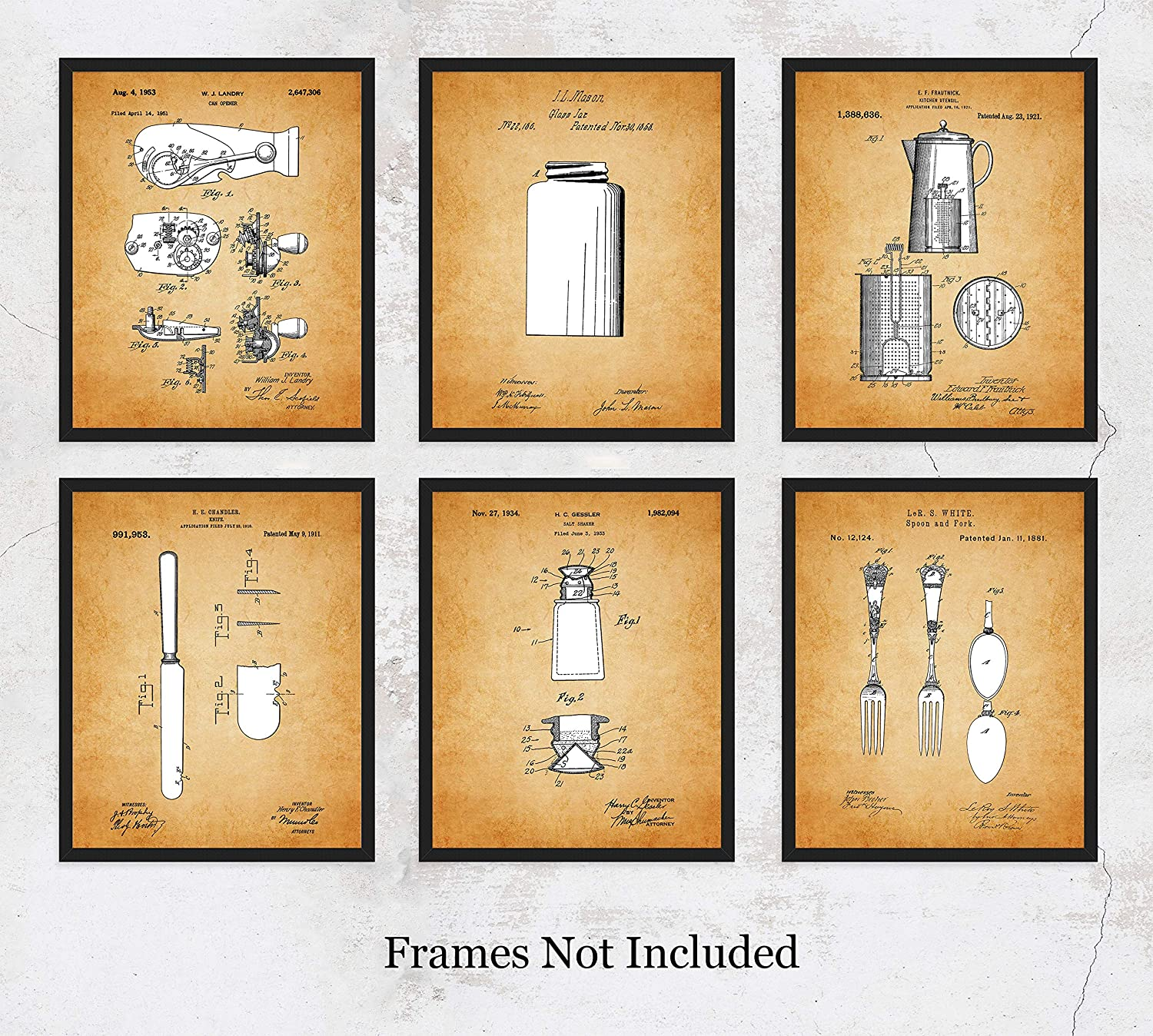 Amazon com vintage kitchen wall art set of six 8x10 patent