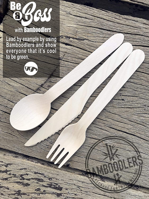 Conjunto de Cubiertos de Madera Desechables de Bamboodlers | 100% Natural, Ecológico, Biodegradable y Compostable - ¡Porque la Tierra es Asombrosa! ...