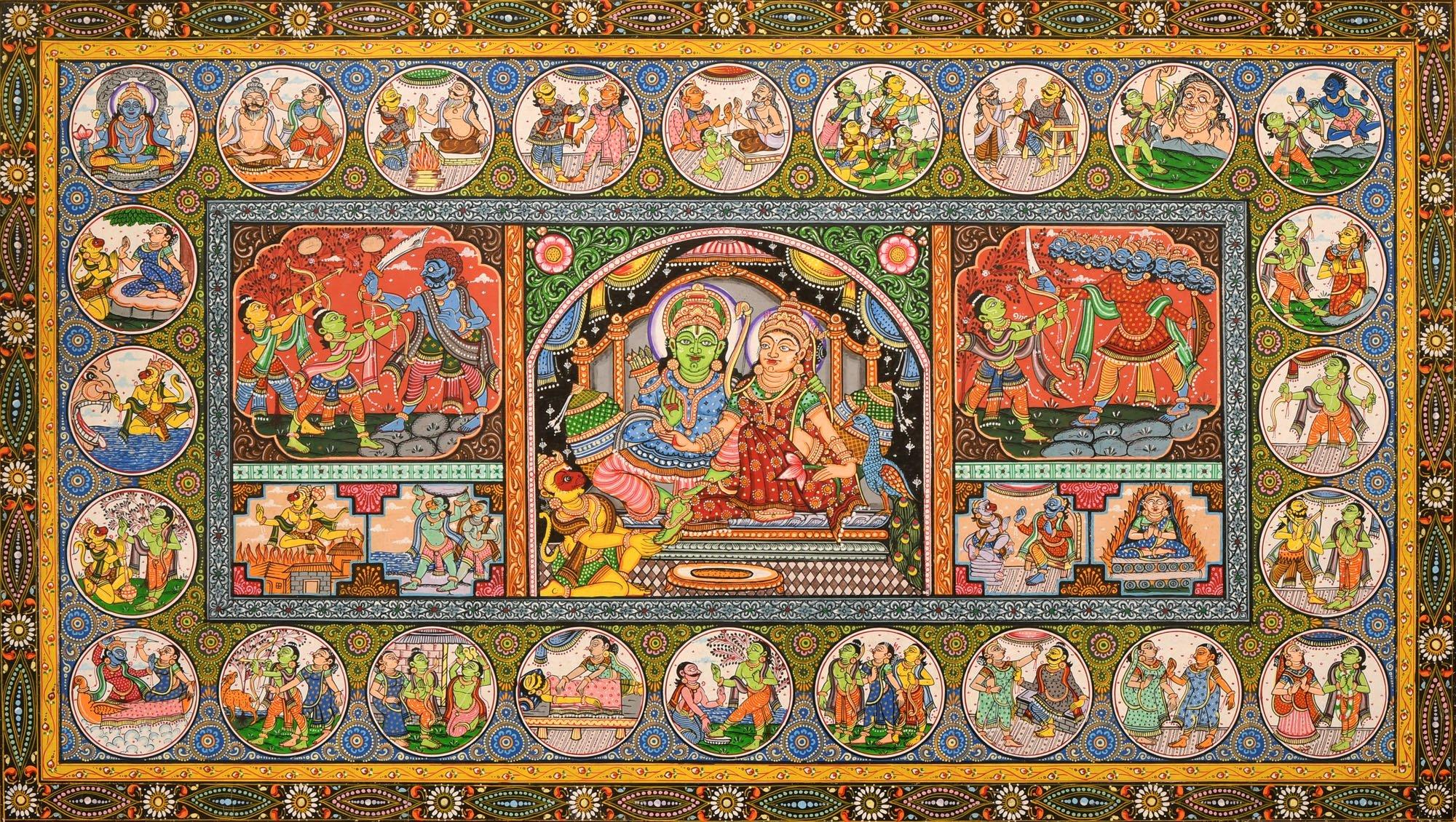 Shri Rama Lila - Water Color Painting on Patti - Folk Art From The Temple Town Puri (Orissa) - Artis