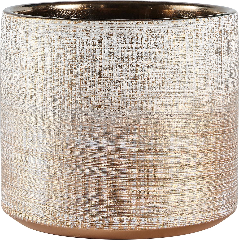 """Rivet Rustic Textured Stoneware Indoor Planter Pot, 5""""H, Bronze"""