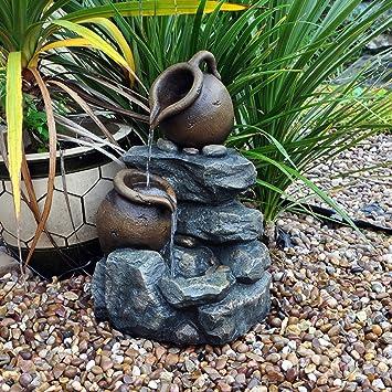 Kingfisher - 2 Tier jarras Rock función de agua para jardín: Amazon ...