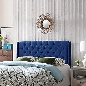 Christopher Knight Home Emma Wingback Queen/Full Tufted Navy Blue Velvet Headboard, Black