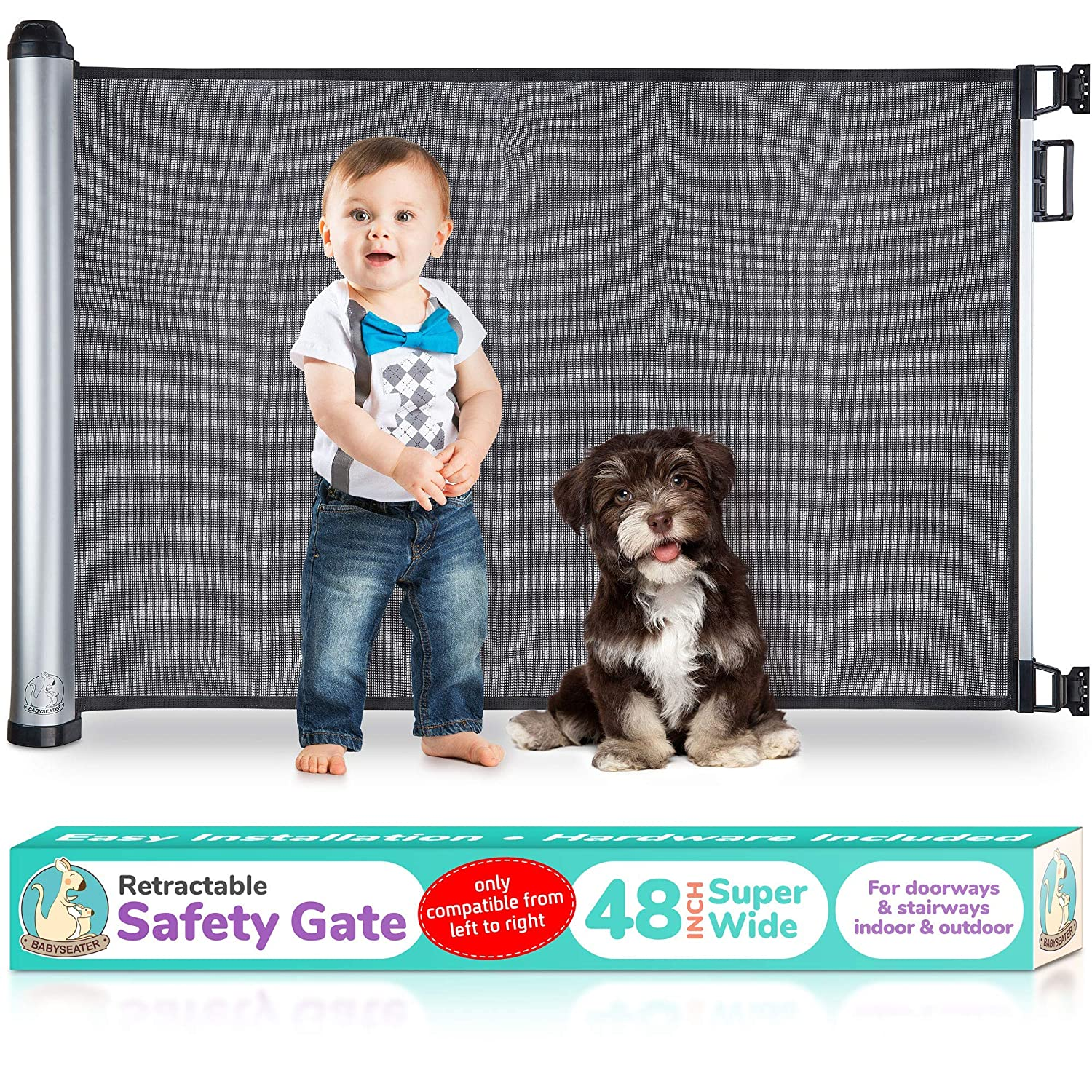 2020 New Retractable Baby Gate – Extra Wide Baby Safety Gate and Pet Gate for Stairs, Doors, and More – Mesh Baby Gate with Easy Latch and Flexible Design Fits Most Spaces