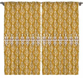 Victorian Style Damask Tassel Pattern Bedroom Living Dining Room Curtain Panels 2 Set Gold