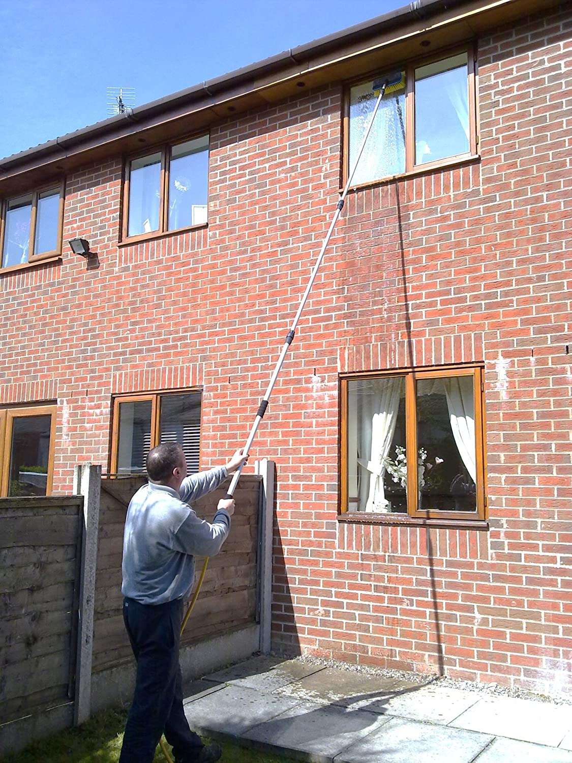 17 foot water fed extendable telescopic window cleaning pole built in squeegee blade conservatory veranda brush kit amazoncouk kitchen home - Window Cleaner Job Description