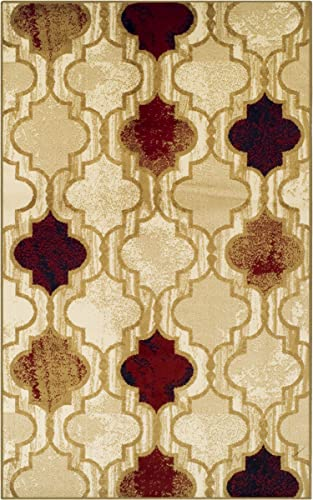 Superior WITLAND Collection Area Rug 8 x 10 – Kitchen,Dining, Living Room – Beige
