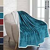 PAVILIA Premium Sherpa Throw Blanket for Couch Sofa | Super Soft, Cozy, Plush Microfiber Turquoise Blue Throw for Chair | Reversible Warm Flannel Fleece Solid Blanket(Sea Blue, 50 x 60 Inches)