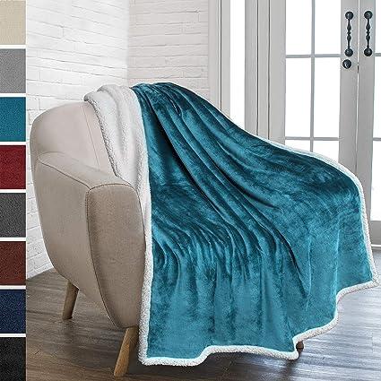 Amazon.com: PAVILIA Premium Sherpa Throw Blanket for Couch Sofa ...