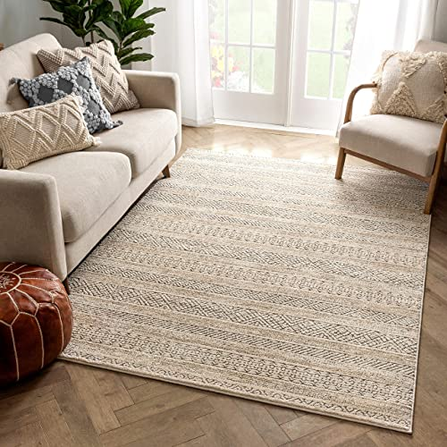 Well Woven Francesca Beige Tribal Geometric Distressed High-Lo Pile Area Rug 8×10 7'10″ x 10'6″