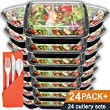 Meal Prep Containers 24 Pack with Lids | 28oz BPA-Free Food Storage and Portion Control by Prep Naturals