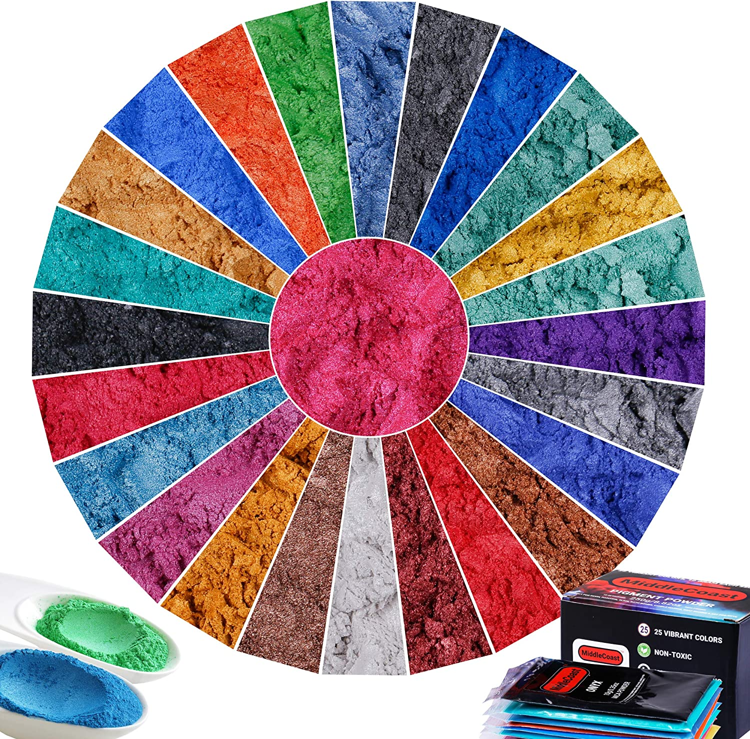 Mica Powder for Epoxy - 25 Colors (10g Each), 250g/8.82oz Vibrant Pigment Powder for Lip Gloss, Resin Dye, Soap Making and Other DIY Activities