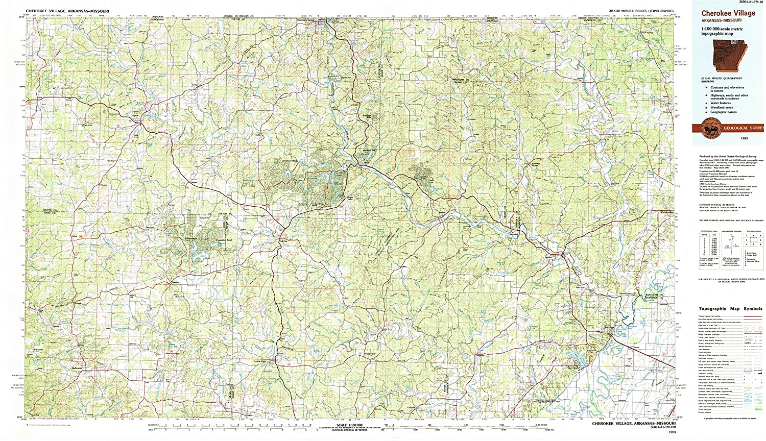 Amazon Com Yellowmaps Cherokee Village Ar Topo Map 1 100000 Scale