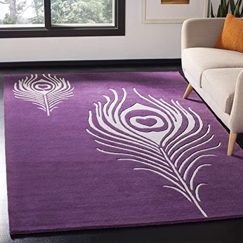 Safavieh Soho Collection SOH704A Handmade Purple and Ivory Premium Wool Area Rug 3 6 x 5 6