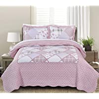 Blissful Living Luxury Ruffle Quilt Set Including Shams - Lightweight Soft All Seasons, Available in Twin, Full/Queen King Size