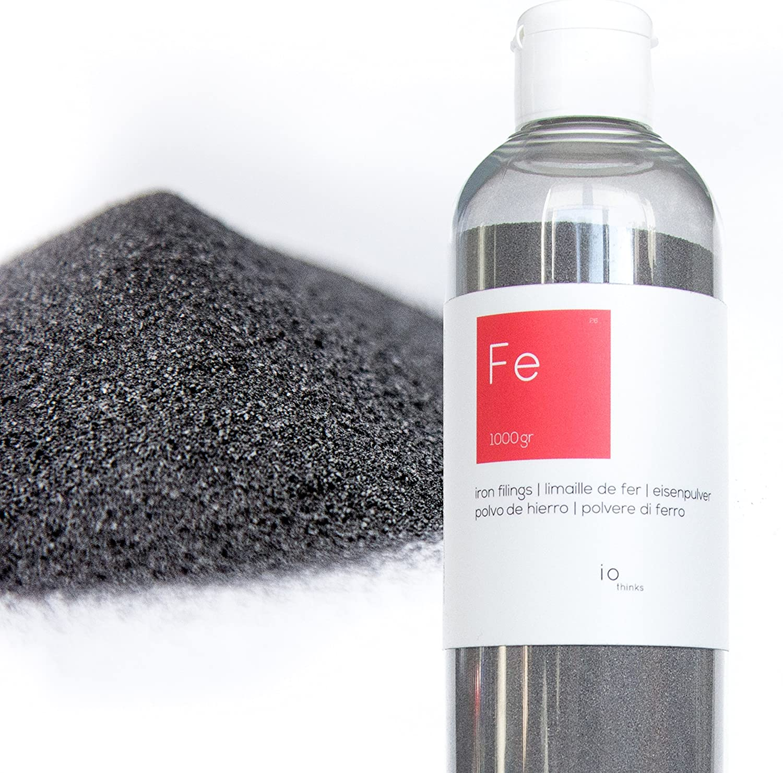 1 kg Polvo de hierro de calidad superior [Botella con pico incluido] - polvo de hierro para las ciencias y la enseñanza - Cree una pared magnética mezclando con pintura