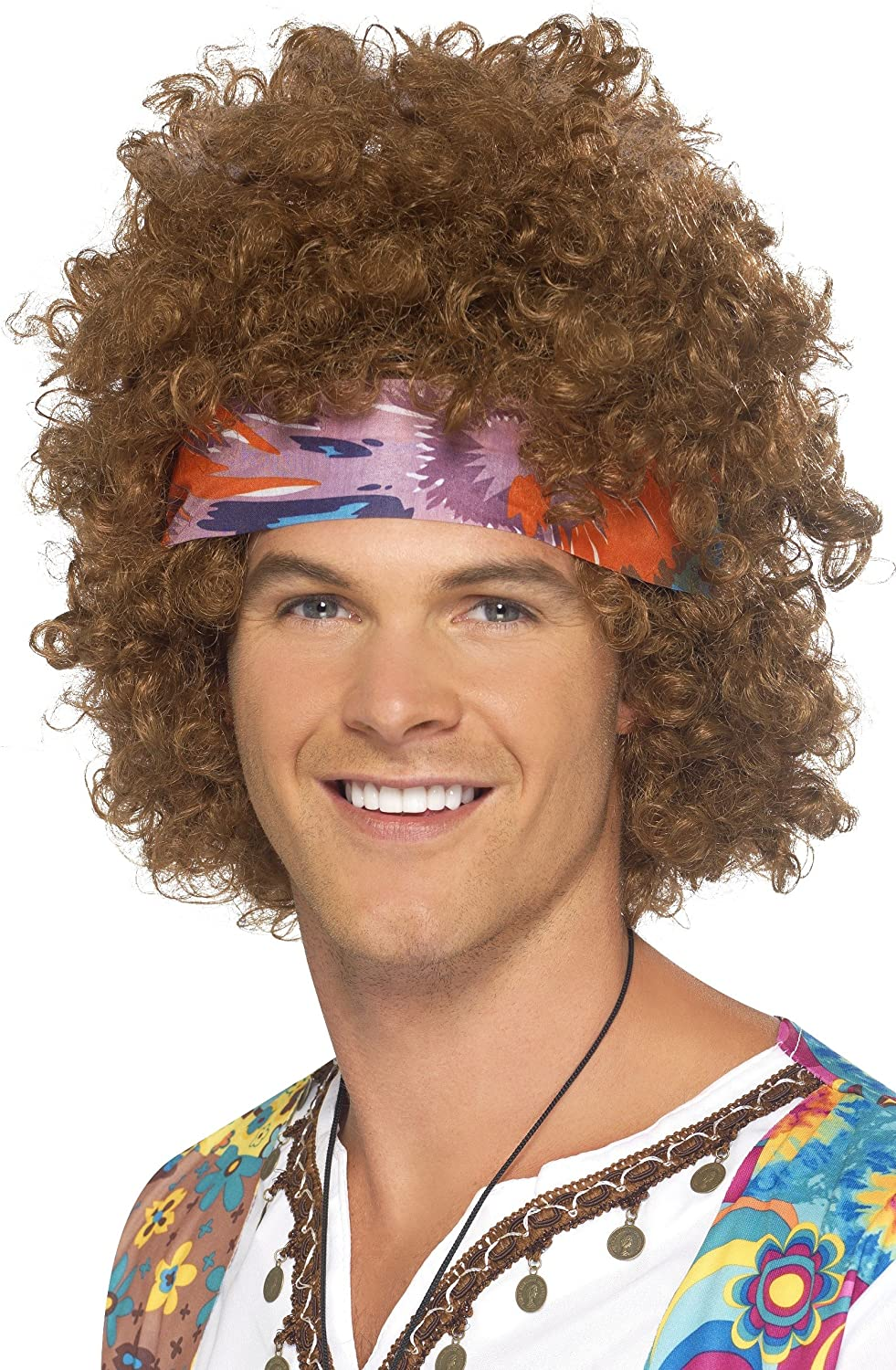 Brown 1960/'s Groovy Hippy Wig Adult Mens Smiffys Fancy Dress Costume