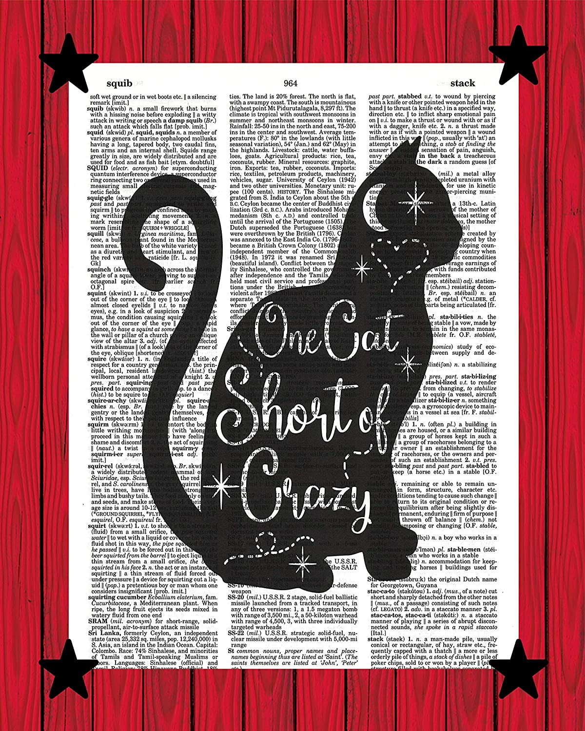 One Cat Short of Crazy Print Cat Lovers Wall Decor Cat Mom Gift Crazy Cat Lady Dictionary Art Print