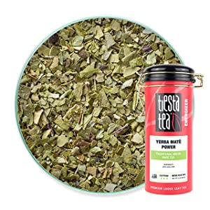 Tiesta Tea - Yerba Mate Power, Loose Leaf Traditional Green Maté Tea, High Caffeine, Hot & Ice Tea, 3.5 oz Tin - 50 Cups, Natural Flavors, Unsweetened, Black Tea Loose Leaf