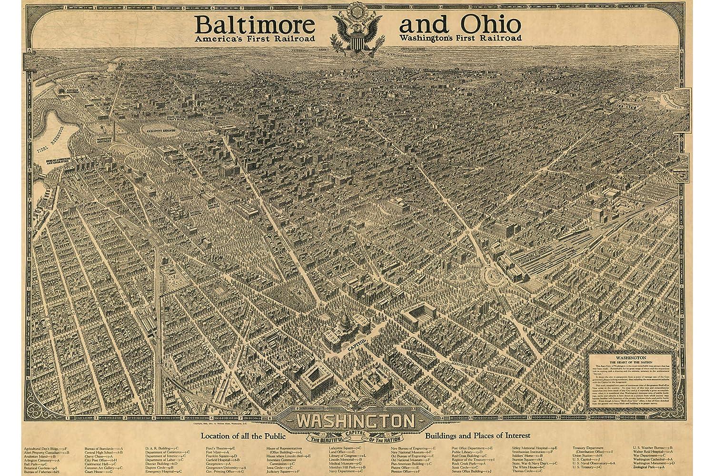 24x36 Bird/'s Eye View 1923 Washington DC Vintage Style City Map
