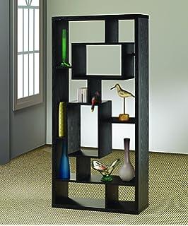Asymmetrical Cube 10 Shelf Bookcase Black Oak
