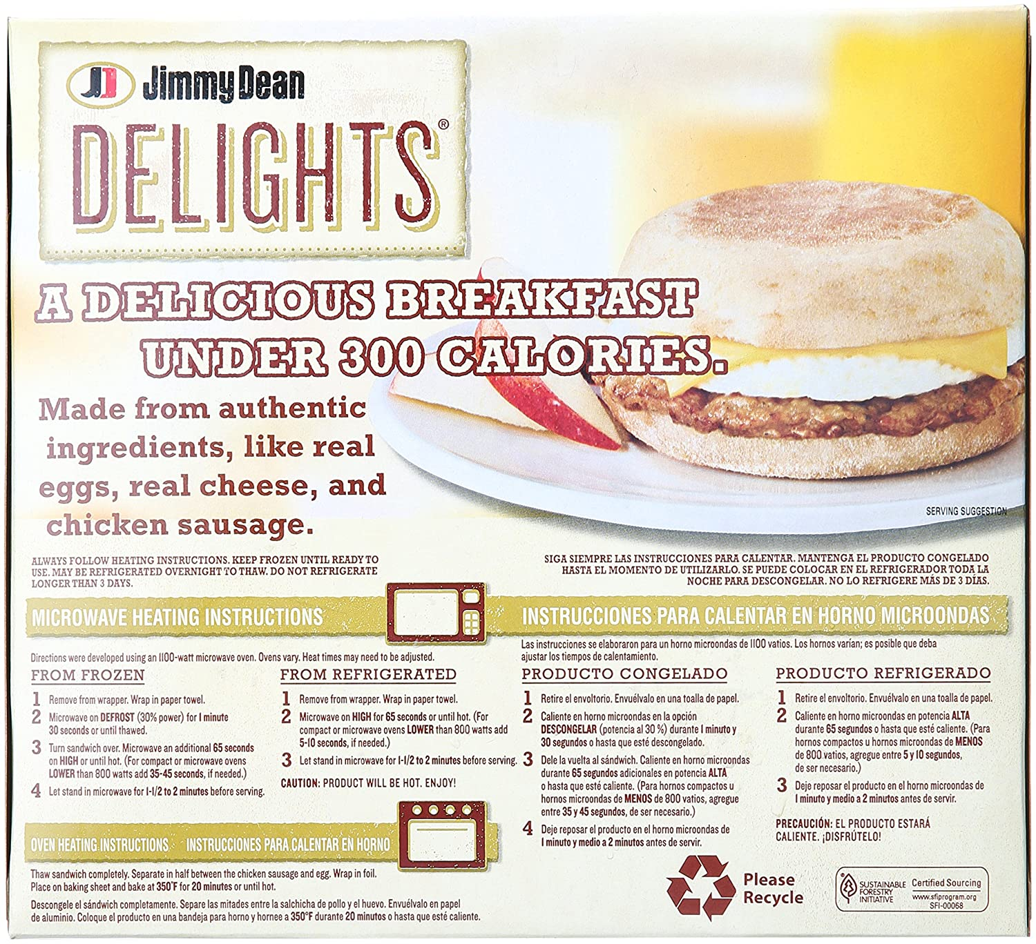 Jimmy Dean, Delights English Muffin Sandwiches, Applewood Smoke, 4 ct (frozen): Amazon.com: Grocery & Gourmet Food