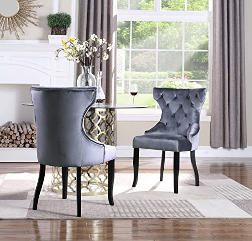 Iconic Home Naomi Wingback Dining Chair Button Tufted Velvet Upholstered Tapered Espresso Wood Legs, Modern Transitional, Grey, Set of 2