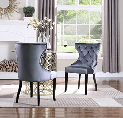 finest selection 15886 2f703 Iconic Home Naomi Wingback Dining Chair Button Tufted Velvet Upholstered  Tapered Espresso Wood Legs, Modern Transitional, Grey, Set of 2