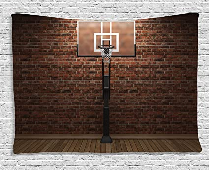 Charming Ambesonne Sports Decor Tapestry, Old Brick Wall And Basketball Hoop Rim  Indoor Training Exercising Stadium