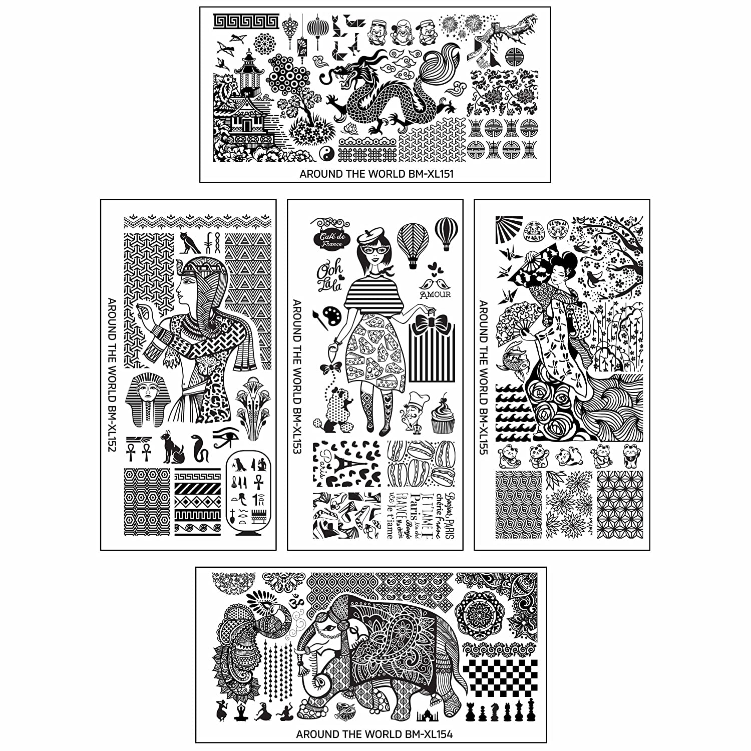 Amazon.com : BMC 5pc Internationally Themed Nail Stamping Plates ...