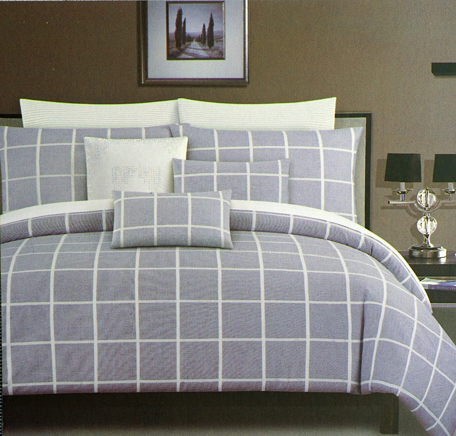 Tahari Home Maison Bedding 3 Piece King Size Bed Duvet Comforter Cover and Shams Set Modern Check Geo Squares Pattern Plaid White Navy Blue Textured Bedding