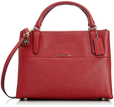 Coach 33732 small turnlock borough bag in currant red: Handbags ...