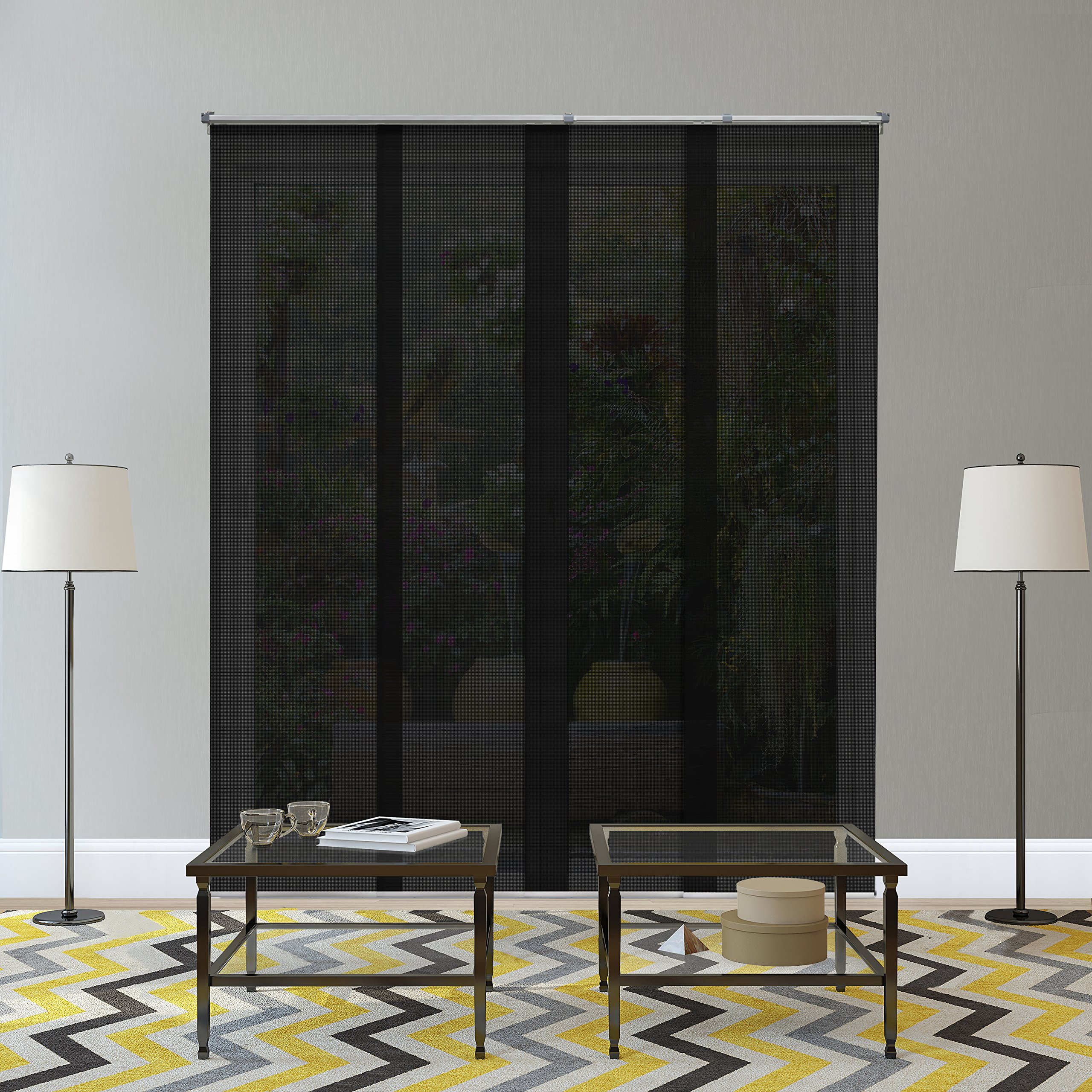Chicology Adjustable Sliding Panels, Cut to Length Vertical Blinds, Midnight Black (Solar) - Up to 80''W X 96''H