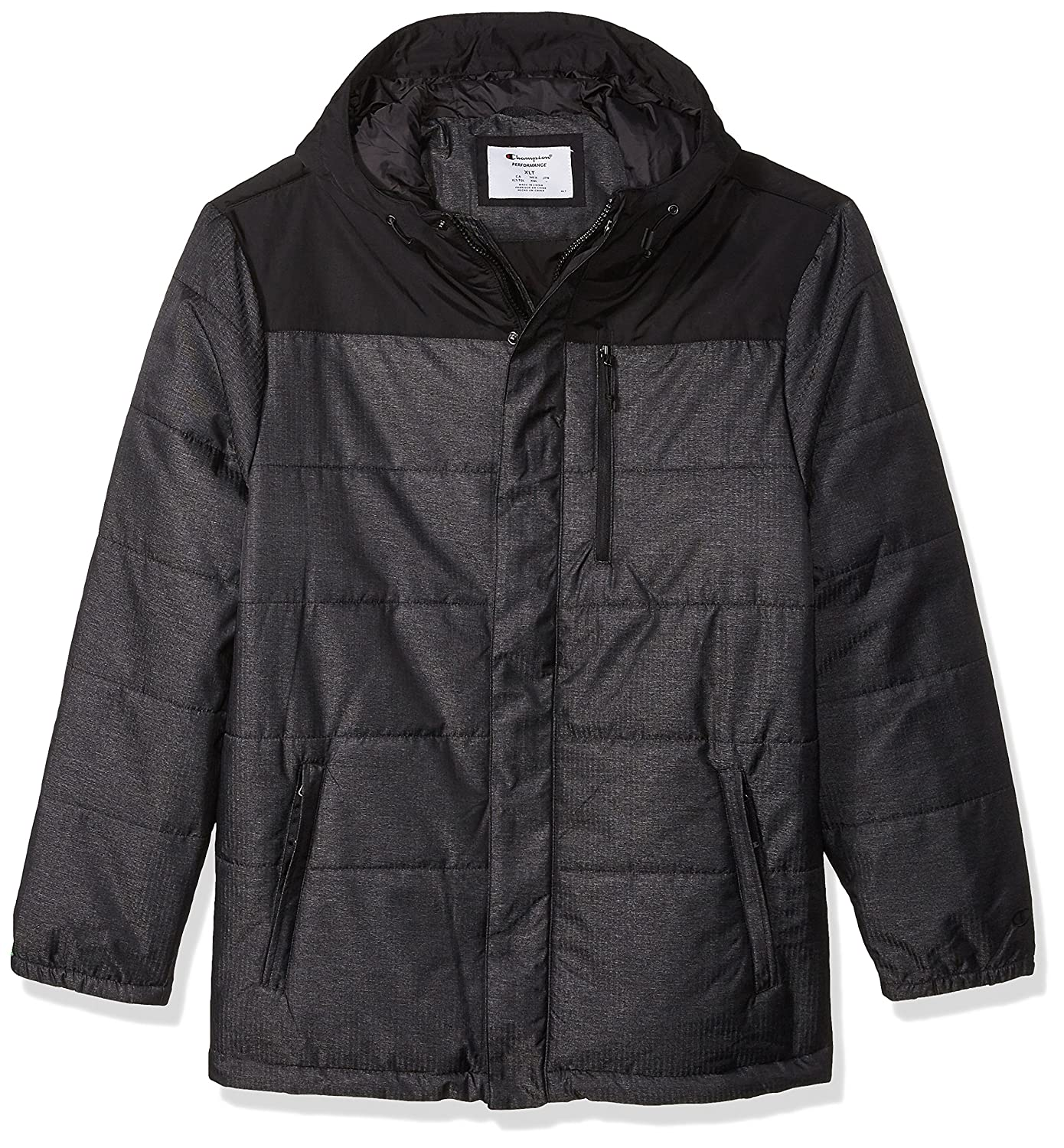Champion Mens Tall Size Tech Herringbone Quilted Puffer with Hood