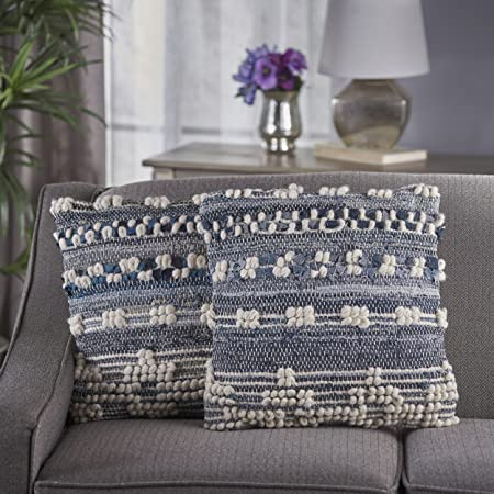 Great Deal Furniture 301633 Clara Blue White Wool and Denim Pillows Set of 2