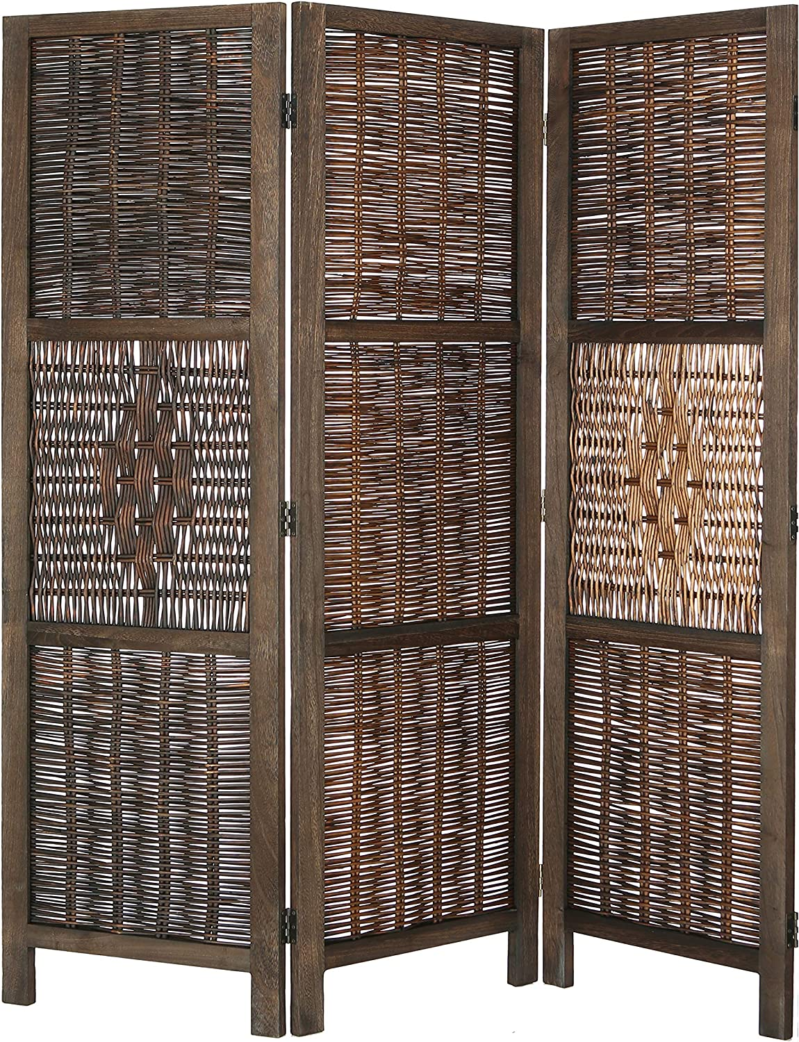 Legacy Decor 3 Panel Room Screen Divider Antique Brown Wicker and Wood Diamond Design