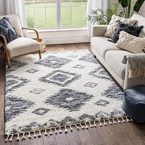 Well Woven Mesca Ivory Super Thick Soft Southwestern Medallion Shag Area Rug 5×7 5'3″ x 7'3″