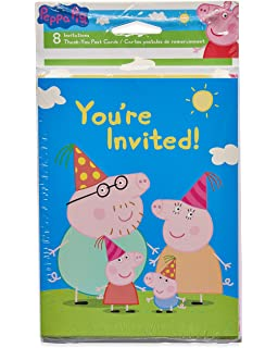 American Greetings Girls Peppa Pig Invite And Thank You Combo Pack8 Count