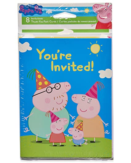 Amazon Com American Greetings Girls Peppa Pig Invite And Thank You