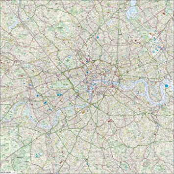 Detailed Map Of London.Giant London Street Map Highly Detailed 130 X 130 Cm Printed On Durable Vinyl