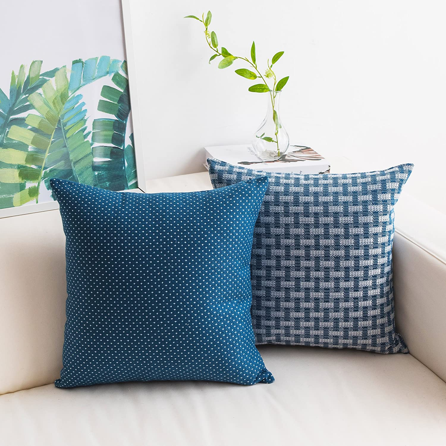Home Brilliant Set of 2 Linen Cushion Cover Dots and Checkers Woven Textured Nautical Lined Square Decorative Toss Throw Pillow Covers Pillowcases for Chair Bed, 18inch (45cm), White Navy Blue