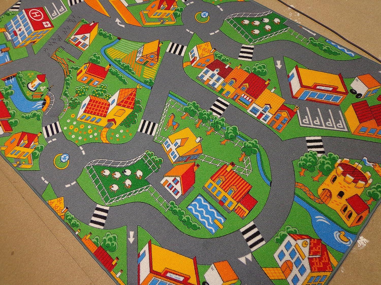 Kinderteppich Spiel Teppich Straße Stadt (350 x 200 cm)